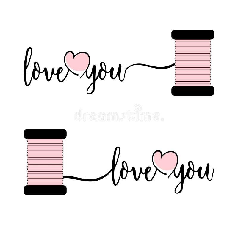 Stilvoller Text ich liebe dich mit rosa Herzen und Thread stock abbildung