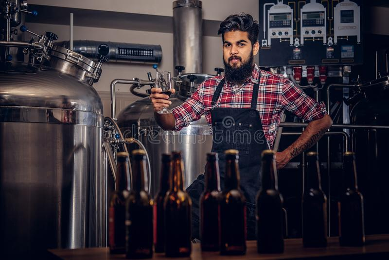 Stilvoller voller bärtiger indischer Mann in einem Vlieshemd und -schutzblech hält ein Glas Bier und steht hinter dem Zähler in stockbild