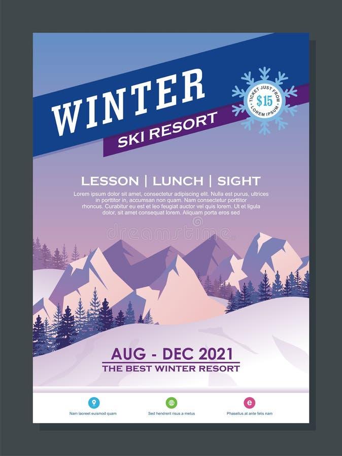 Stilvoller Winter-Flieger-oder Plakat-Schablonen-Entwurf vektor abbildung