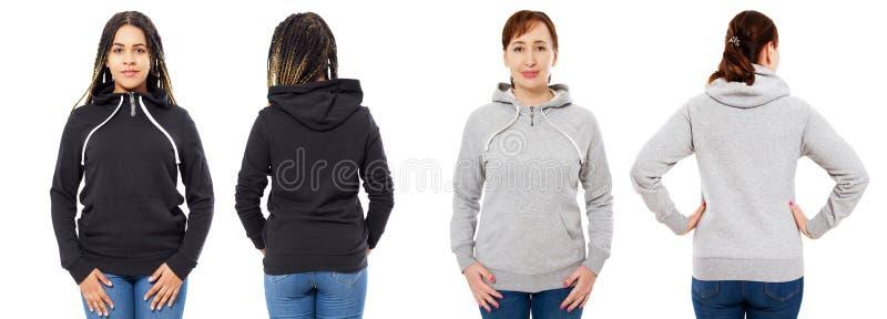 Stilvolles afroes-amerikanisch Mädchen im schwarzen Hoodiespott oben, Schönheit in der grauen Haubensatzfront und hintere Ansicht stockbild
