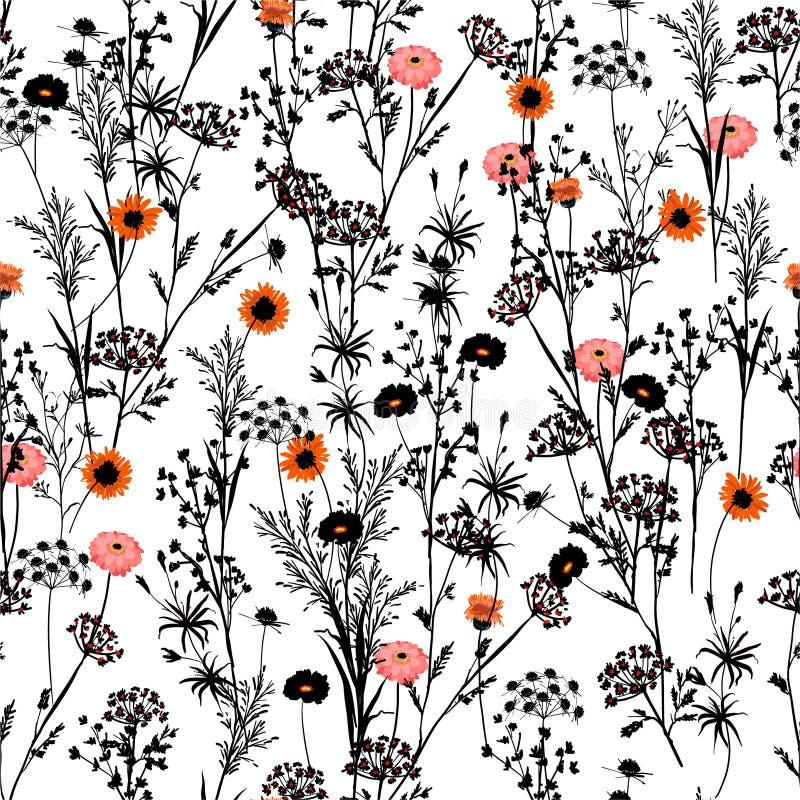 Stilvolles blalck und weißes Schattenbild der Handgezogenen Wiese mit Blumen mit Stelle des roten und orange blühenden Blumenmust vektor abbildung