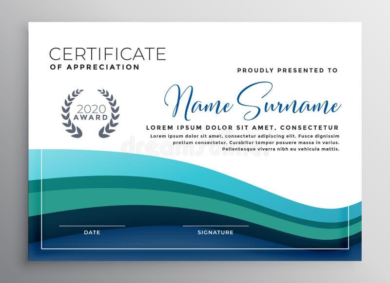 Stilvolles blaues Wellenzertifikat der Anerkennungsschablone stock abbildung