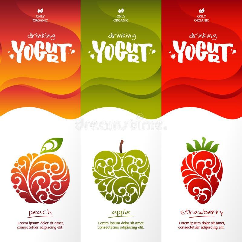 Stilvolles Design für trinkenden Jogurt lizenzfreie abbildung
