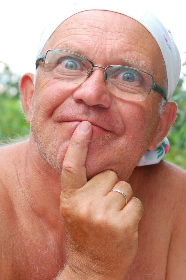 Stilvolles Gesicht des älteren Mannes lizenzfreies stockbild