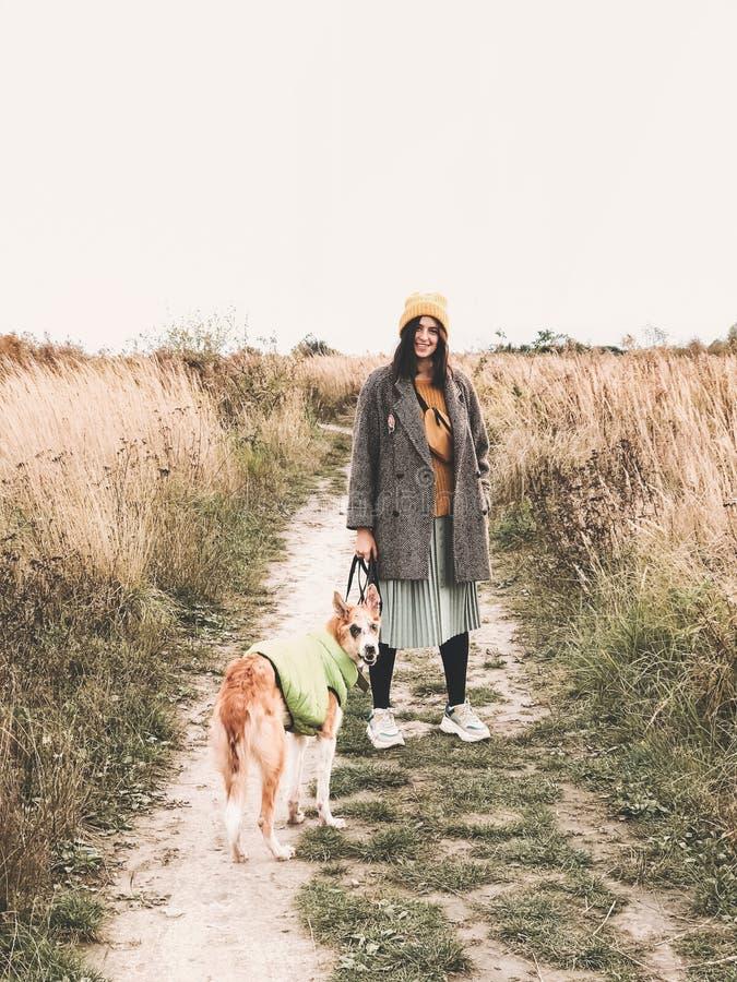 Stilvolles Hipster-Mädchen in gelber Hut und gelbem Mantel mit ihrem goldenen Hund im Herbstfeld unter Kräutern Moderne Frau lizenzfreies stockfoto