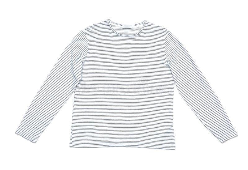 Stilvolles lang?rmliges T-Shirt auf wei?em Hintergrund stockfotografie