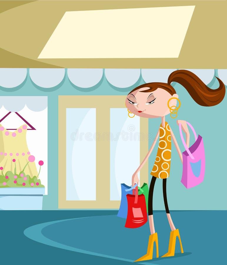 Stilvolles Mädchen mit Einkaufstasche stock abbildung