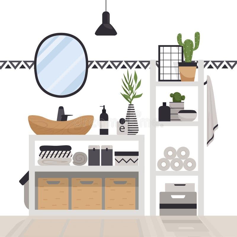 Stilvolles modernes Badezimmer in der skandinavischen Art Gemütlicher Innenraum Minimalistic mit Fächern, Spiegel, Regalen, Lampe lizenzfreie abbildung