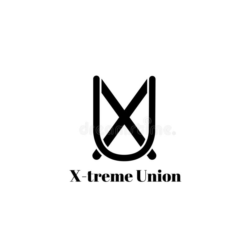 Stilvolles Monogramm oder Logo lokalisiert auf weißem Hintergrund Rebecca 6 Bild von Buchstaben X und U stock abbildung