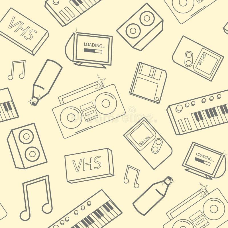 Stilvolles nahtloses Muster mit alte Schulattributen, elektronischen Geräten und Musikinstrumenten auf gelbem Hintergrund rücksei stock abbildung