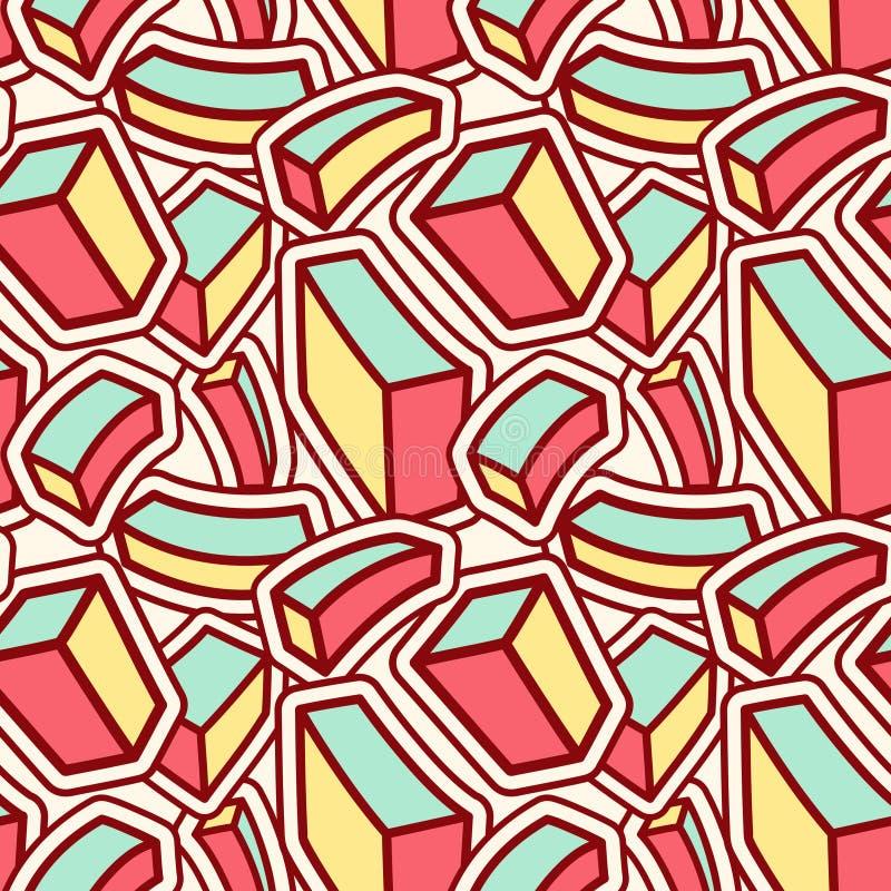 Stilvolles nahtloses Muster mit gebogenen bunten Würfeln stock abbildung