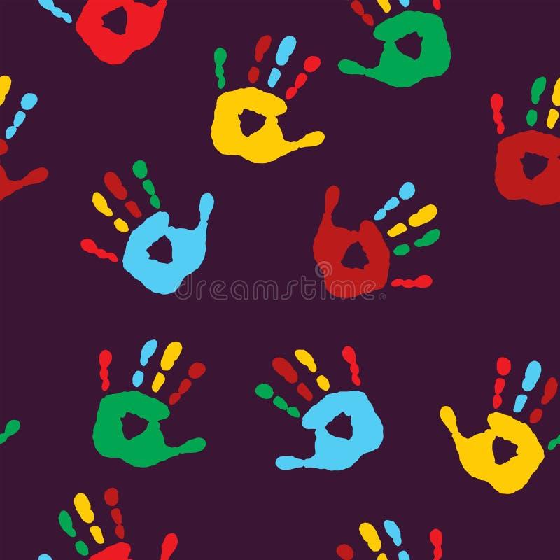 Stilvolles nahtloses Muster mit Impressen von Kind-` s Palmen vektor abbildung