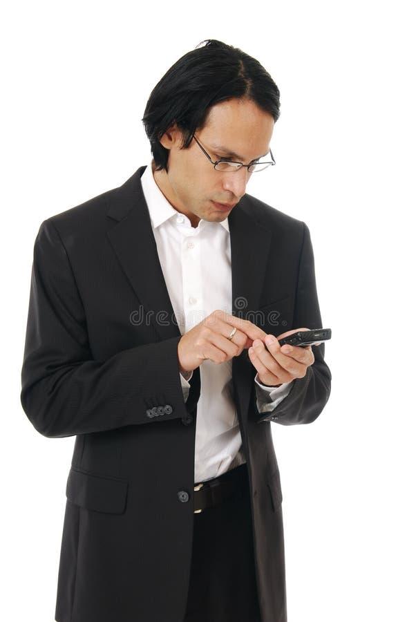 Stilvolles professioinal, das eine Textmeldung sendet lizenzfreies stockbild