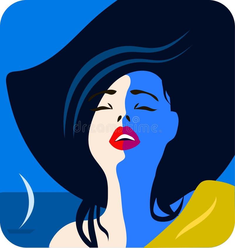 Stilvolles schönes Modell für Modedesign Art- DecoGrafikillustration Porträt des hübschen Mädchens auf Seeküste stock abbildung