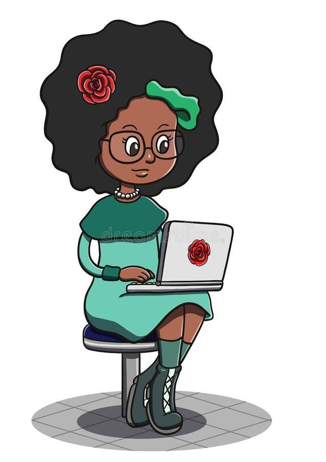 Stilvolles schwarze Frauen-Sitzen und mit Laptop stock abbildung
