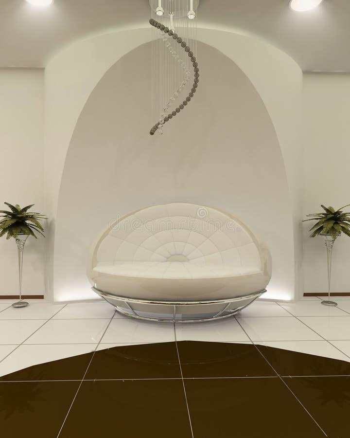 Stilvolles Sofa mit Aufbau im Innenraum stock abbildung