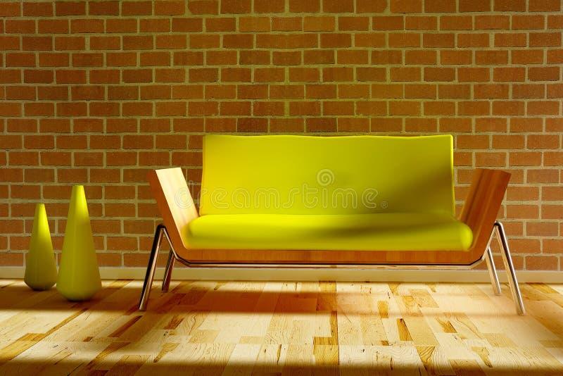 Stilvolles Sofa mit dekorativen zwei Vasen vektor abbildung