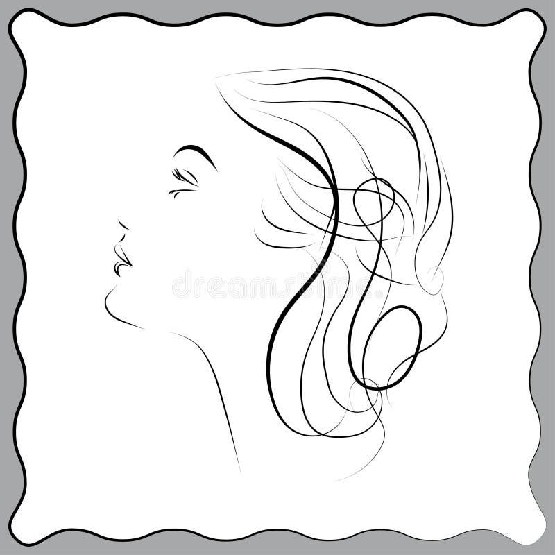 Stilvolles ursprüngliches von Hand gezeichnetes Grafikporträt des VEKTORS vektor abbildung
