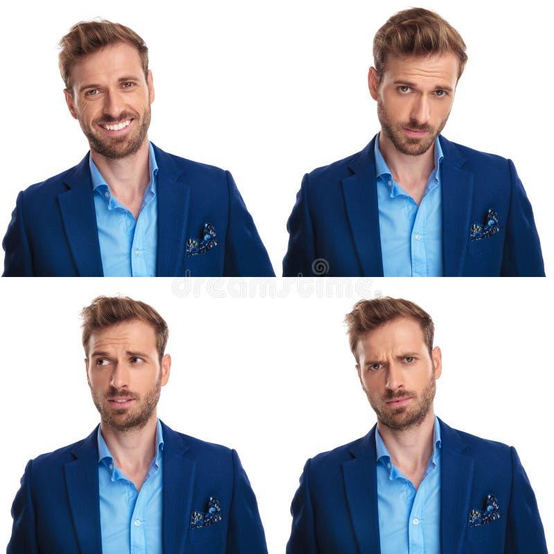 4 Stimmungen eines eleganten jungen Geschäftsmannes stockfotografie