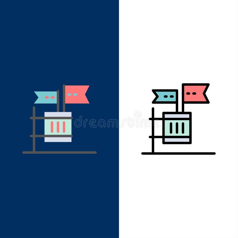 Stimmzettel, Boykott, Wahl, Abfall, Kram-Ikonen Ebene und Linie gefüllte Ikone stellten Vektor-blauen Hintergrund ein vektor abbildung