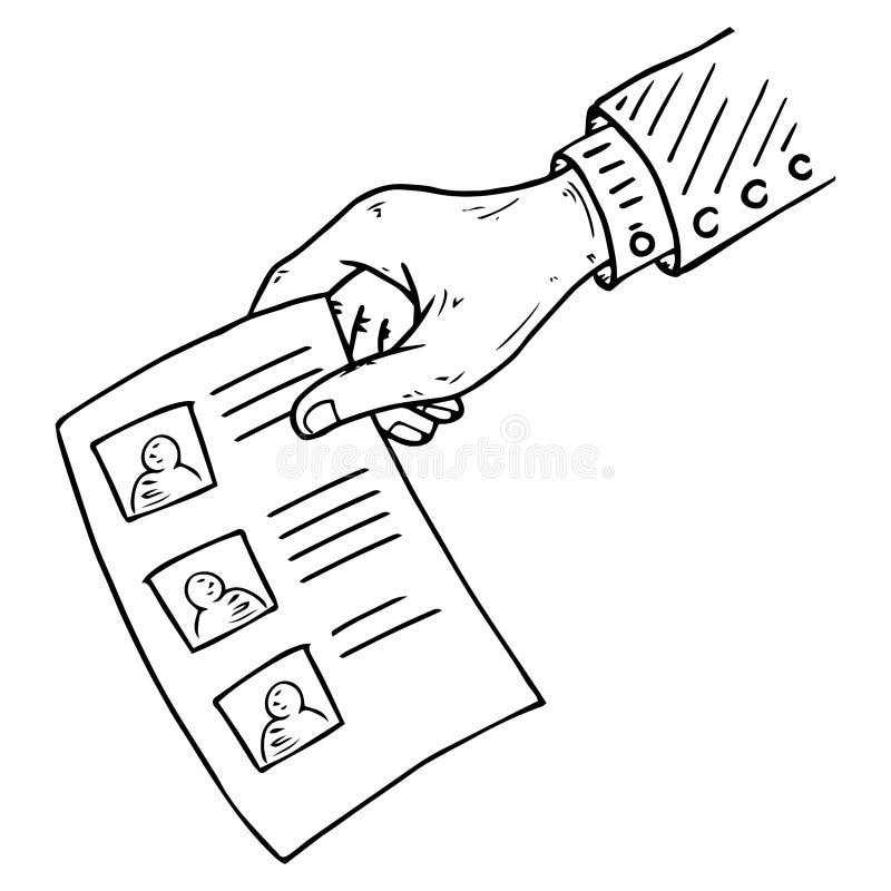 Stimmzettel, Formular, Listensymbol Vector Illustration des vorhandenen Stimmzettels Hand hält ein leeres Papier, Dokument, Blatt lizenzfreie abbildung