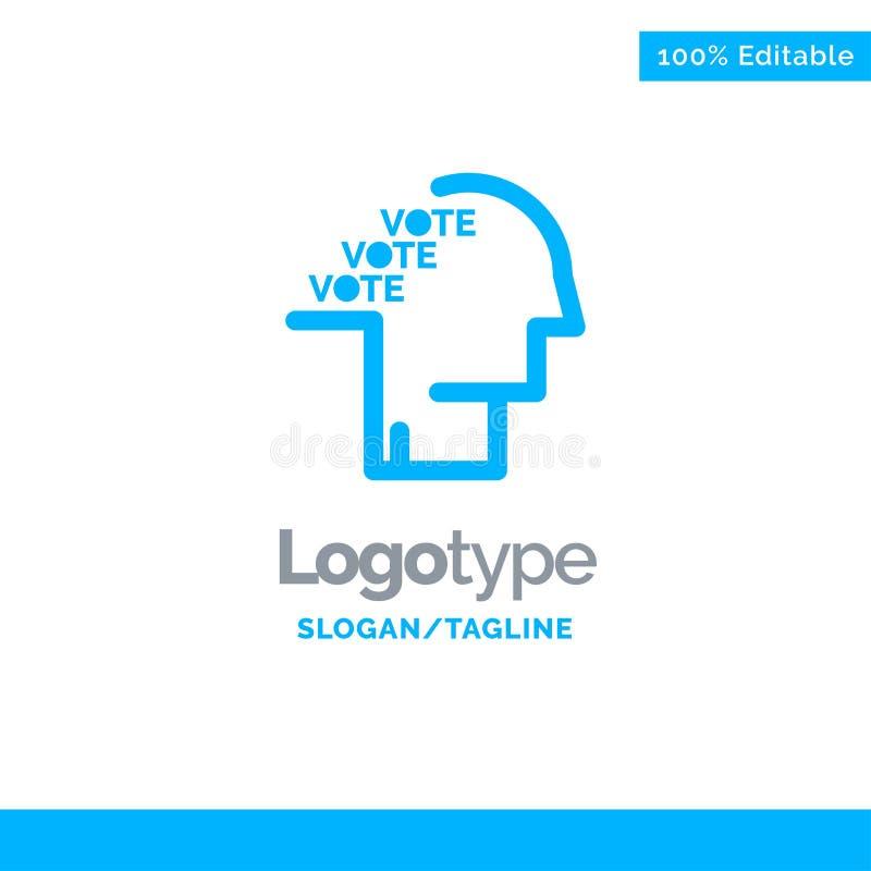 Stimmzettel, Wahl, Abstimmung, Referendum, Rede blauer fester Logo Template Platz f?r Tagline lizenzfreie abbildung