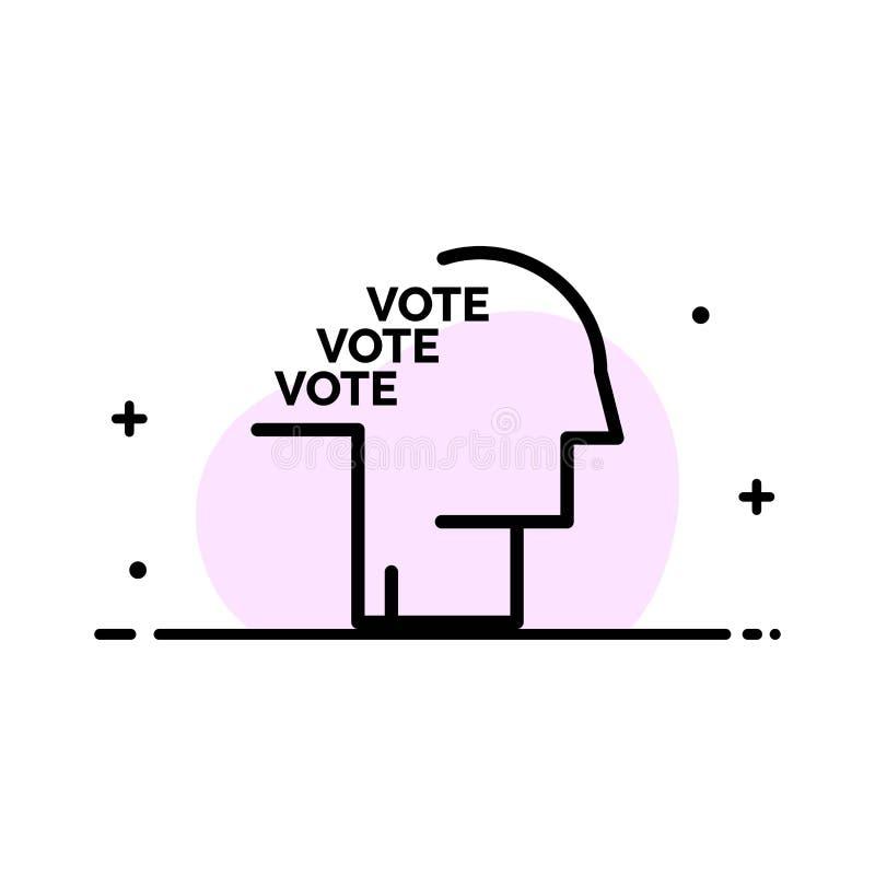 Stimmzettel, Wahl, Abstimmung, Referendum, Sprache-Geschäfts-flache Linie füllte Ikonen-Vektor-Fahnen-Schablone lizenzfreie abbildung
