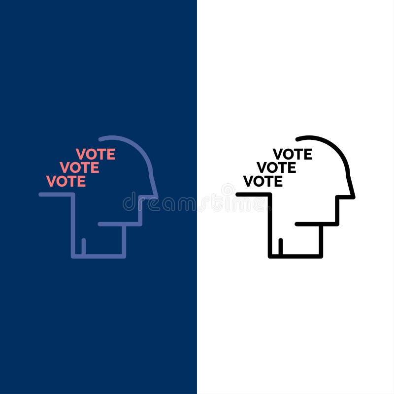 Stimmzettel, Wahl, Abstimmung, Referendum, Sprache-Ikonen Ebene und Linie gefüllte Ikone stellten Vektor-blauen Hintergrund ein lizenzfreie abbildung