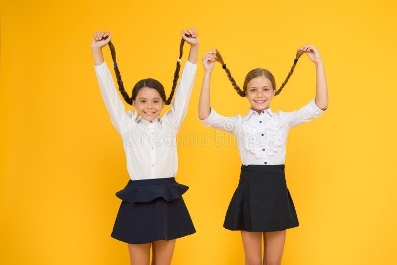 Stimolante lungo di crescita dei capelli Piccoli bambini svegli che tengono le trecce lunghe dei capelli su fondo giallo Bambina  fotografie stock