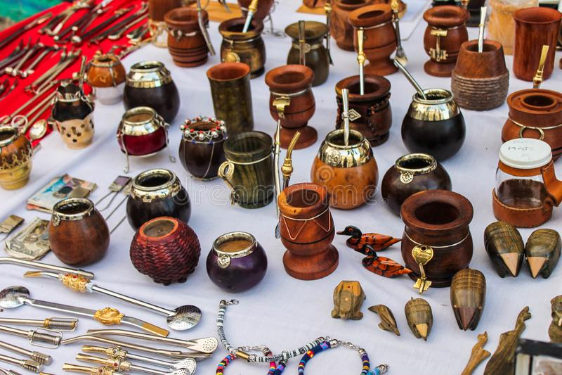 Stimolante organico di Mate Tea Background Object Metal immagini stock libere da diritti