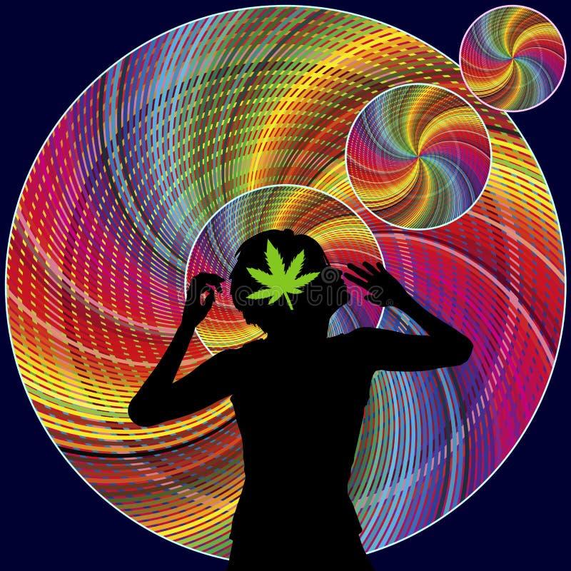 Stimulant et propriétés hallucinogènes de marijuana illustration stock