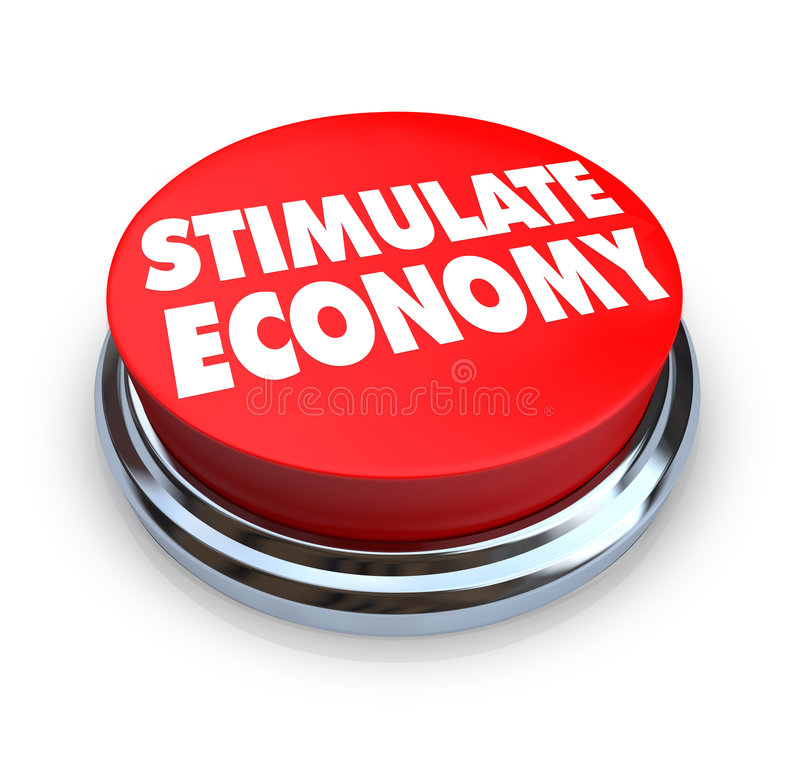 Stimulate Economy - Red Button. A round button with the words Stimulate Economy on it