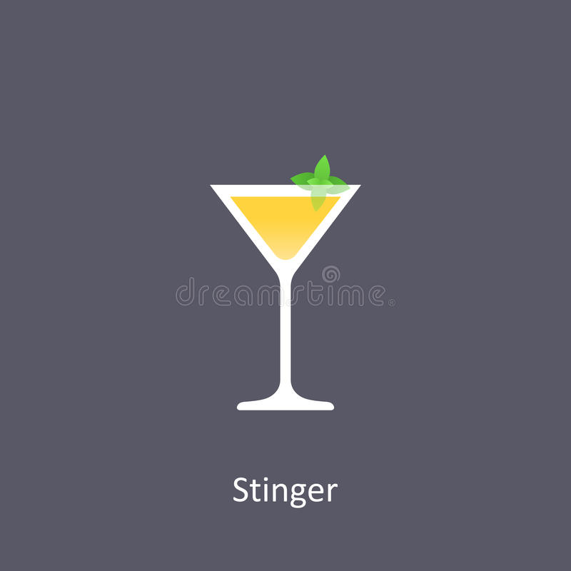Stinger cocktail icon on dark background. In flat style. Vector illustration vector illustration