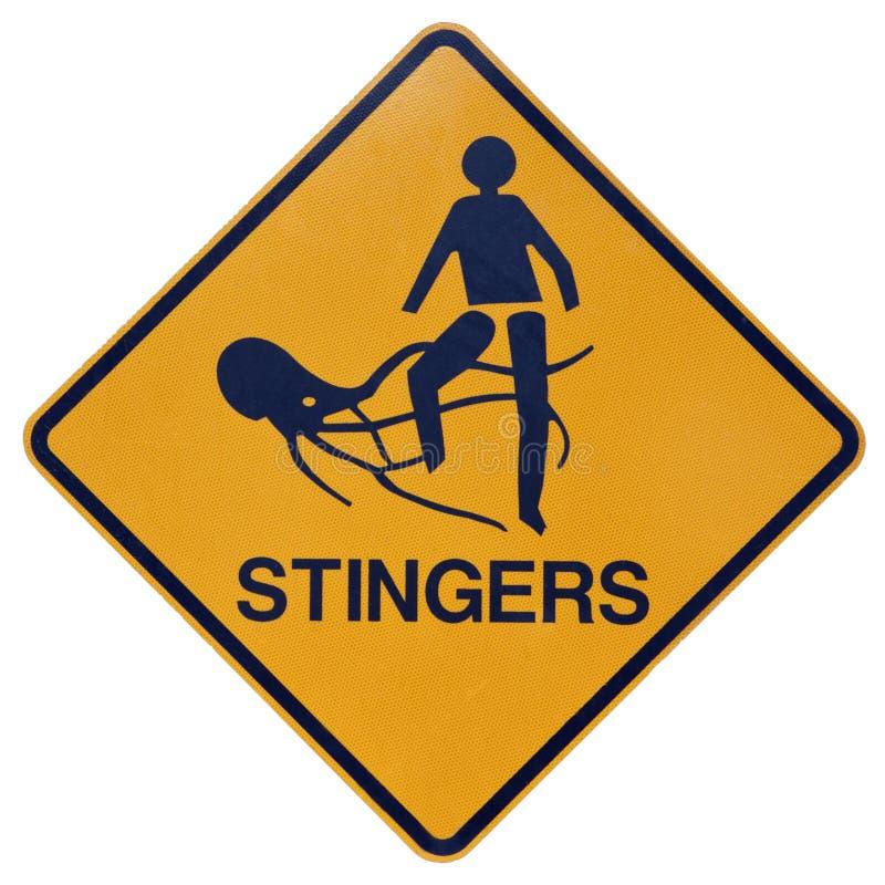 Stingers ou sinal de aviso marinho das medusas imagem de stock