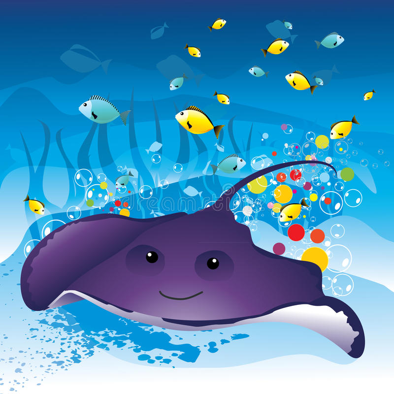 Stingray abstract. In the deep sea stock illustration