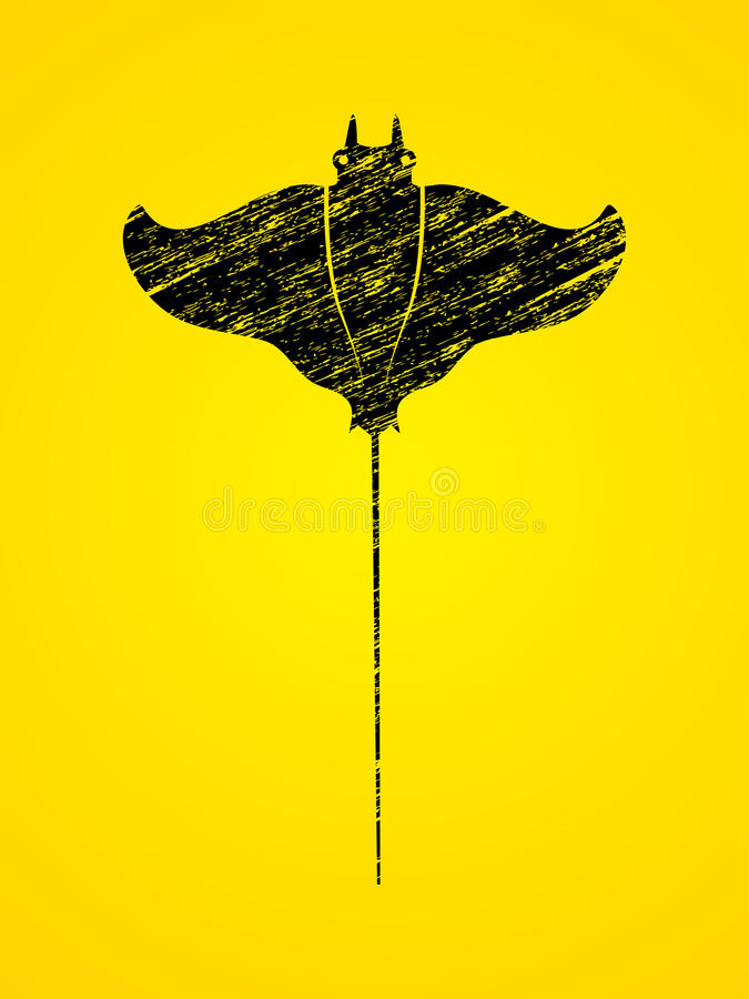 Stingray fish, Batoids fish. Graphic vector stock illustration
