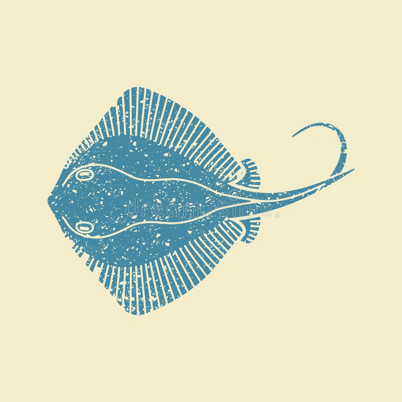 Stingray fish icon. Stingray fish. Flat vector icon in retro style vector illustration