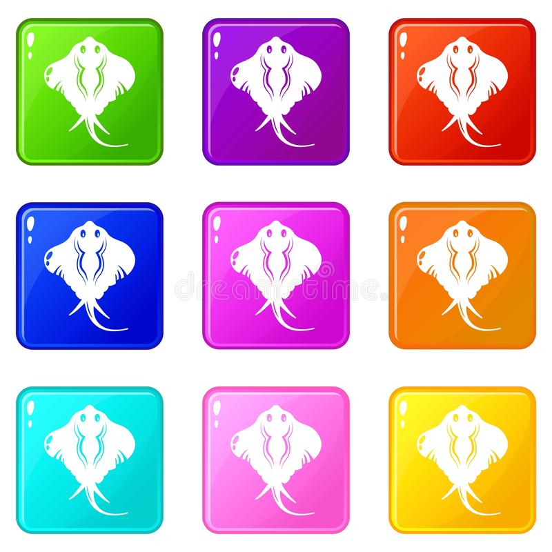 Stingray ikony ustawiają 9 kolorów kolekcję ilustracji