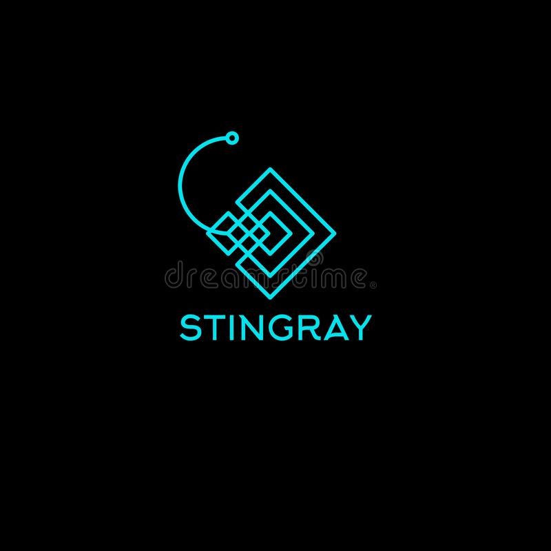 Stingray lines logo. Diving club emblem. Linear stylized stingray symbol. Stingray lines logo. Diving club emblem. Linear stylized stingray symbol on the dark stock illustration