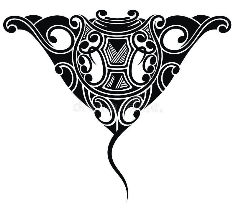 Stingray tattoo in Maori ethnic style. Graphic stingray tattoo in black and white style stock illustration
