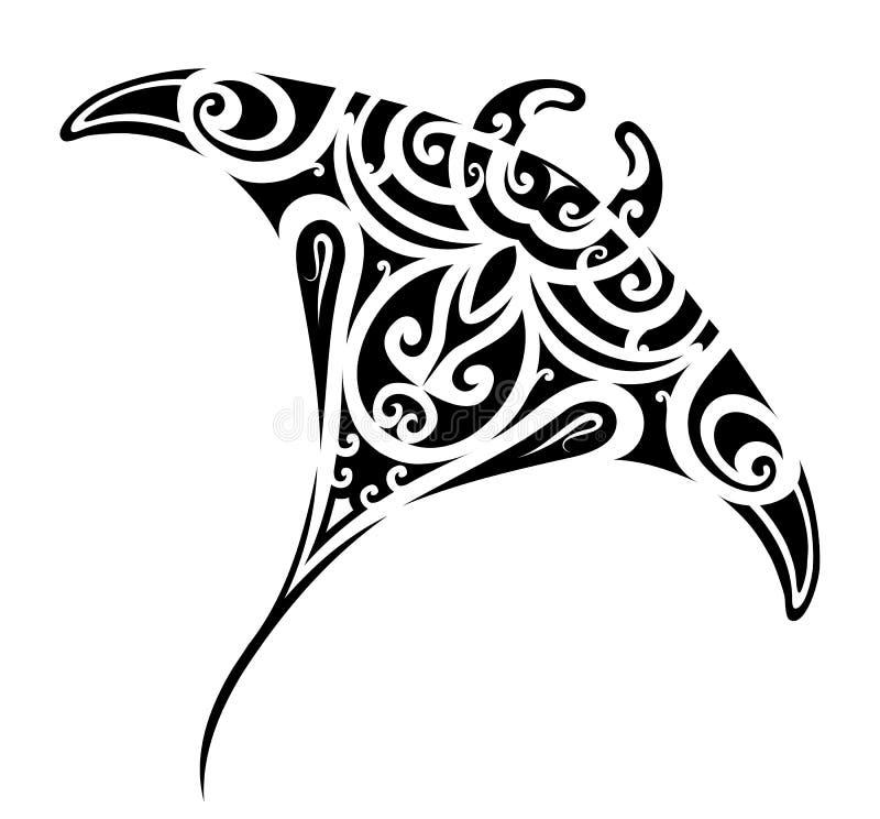Stingray tattoo shape. Stingray tattoo in Maori ethnic style stock illustration