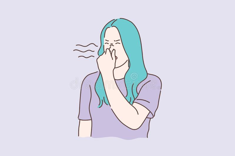 Stink, smell, disgust concept. Young unhappy dissatisfied woman covers nose with hands, showing disgust. Disappointed unhappy girl feels disgust because of stock illustration