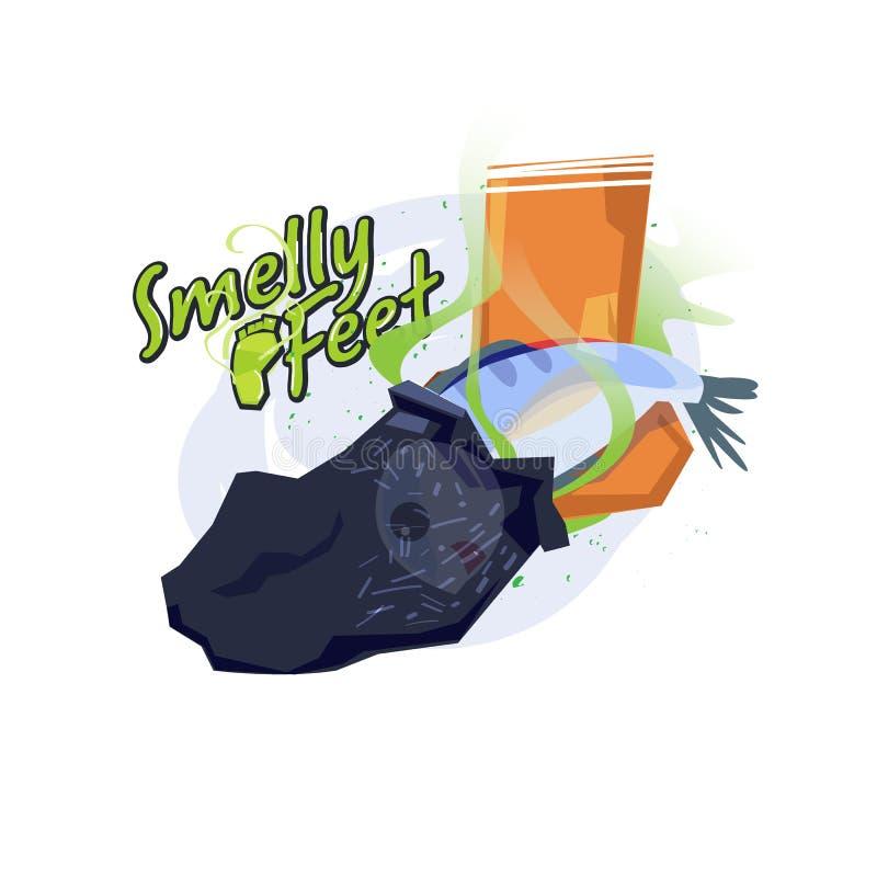 stinka fot Fisk inom sockan Fot lukt som en fiskconcep stock illustrationer