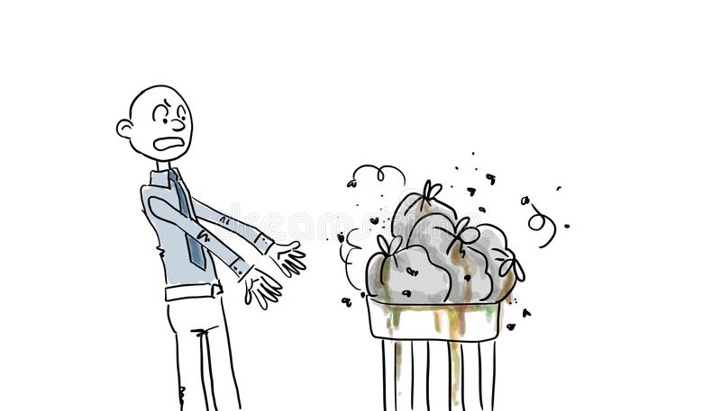 Stinky garbage bags vector illustration