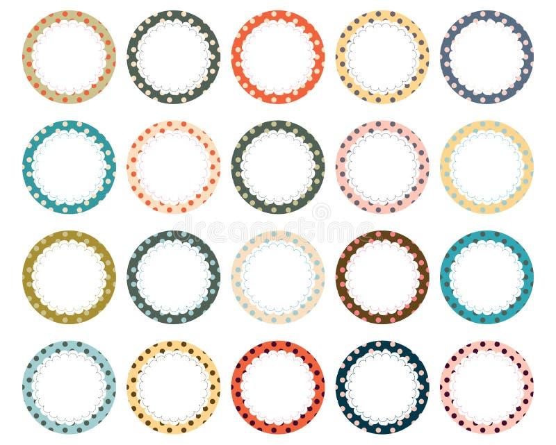 Stip gegratineerde cirkeletiketten royalty-vrije illustratie