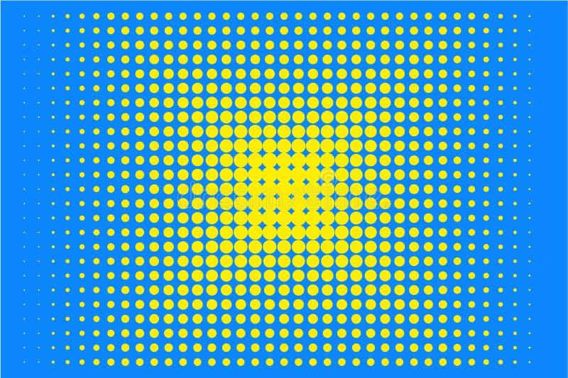 Stip halftone patroon Gele cirkels, punten op blauwe achtergrond Vector illustratie stock illustratie