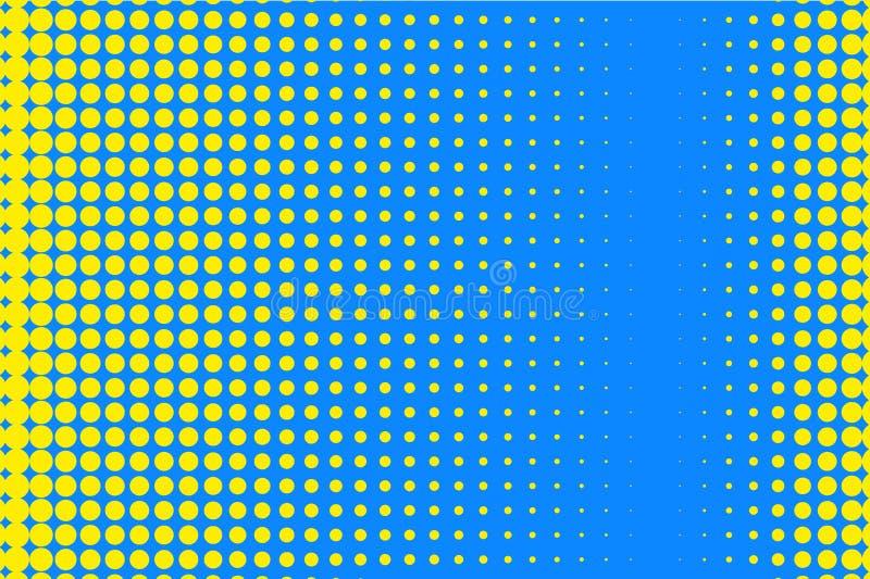 Stip halftone patroon Gele cirkels, punten op blauwe achtergrond Vector illustratie vector illustratie