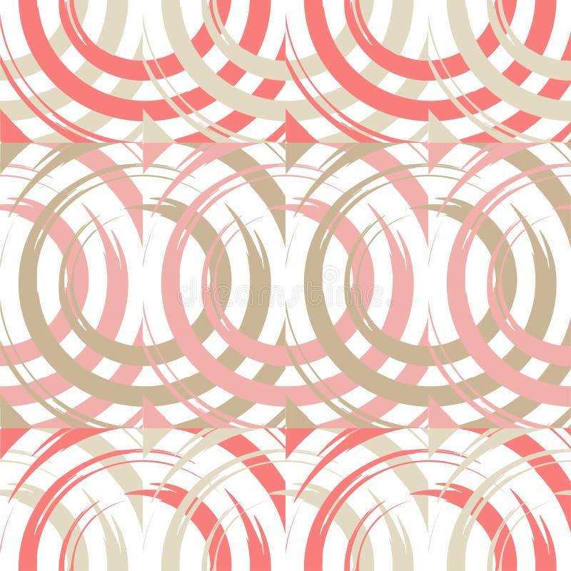 Stip naadloos patroon Cirkels in het vierkant Het hand uitbroeden brushwork Gekrabbeltextuur stock illustratie