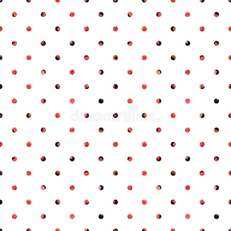 Stip naadloos patroon Witte achtergrond met zwarte en rode cirkels royalty-vrije illustratie
