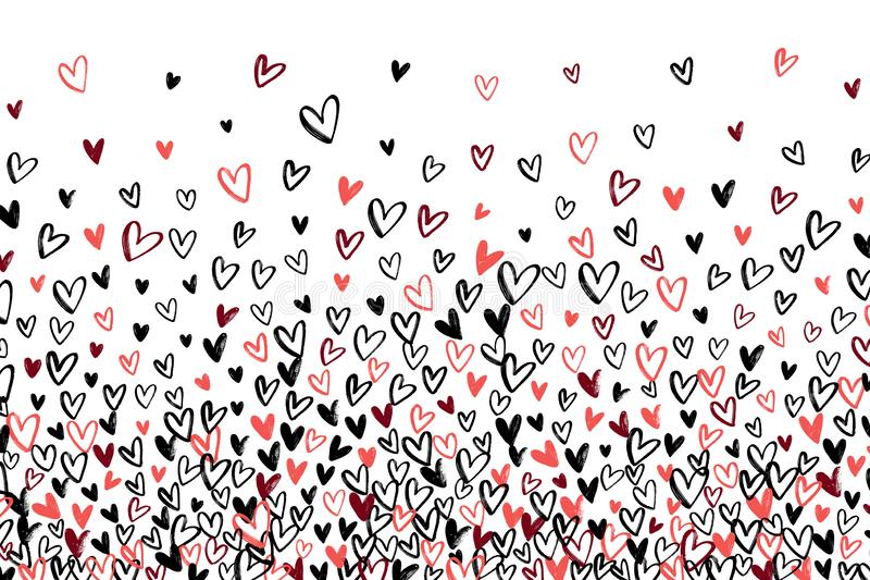 Stipple pattern for design. Gradually changing density backdrop with red, black and pink hand drawn hearts. Romantic texture vector illustration